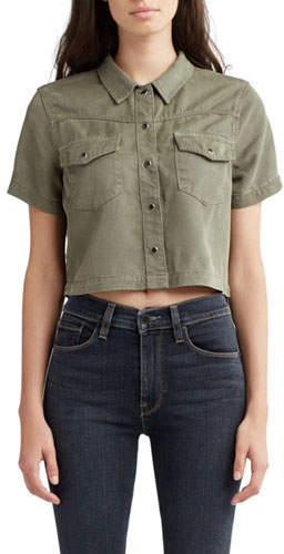 Hudson Western Cropped Snap-Front Shirt
