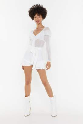 Nasty Gal Womens Frill Tie Waist Shorts - White - 10