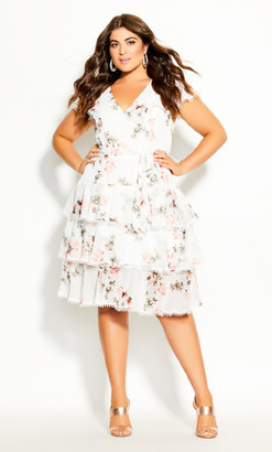 City Chic Lady Ascot Dress - ivory