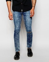 Cheap Monday Jeans Tight Skinny Fit Youth Blue Acid Knee Rip - Blue