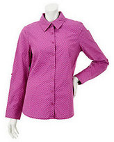As Is Denim & Co. Long Sleeve Button Front Dot Print Woven Shirt