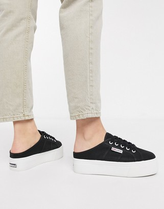 Superga 2284 slip on flatform trainer in black