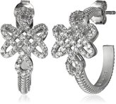 "Freida Rothman Gramercy"" Sterling and Cubic Zirconia Love Knot Hoop Earrings"