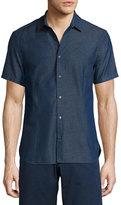 Orlebar Brown Morton Chambray Tailored Short-Sleeve Sport Shirt, Indigo