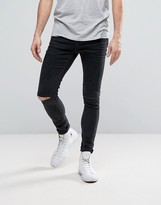 Selected Homme Plus Jeans In Skinny Fit Grey Denim With Rip Knee Detail