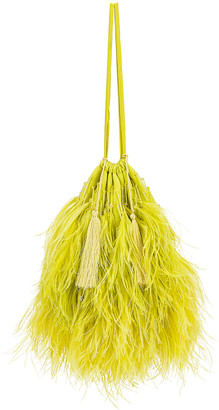 ATTICO Feather Pouch Bag in Lime | FWRD
