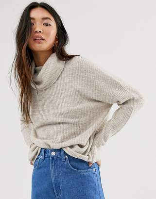 Only brushed knit jumper with roll neck in stone-Beige