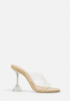 Missguided Nude Clear Cross Over Heels