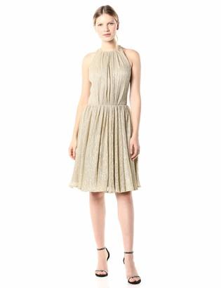Halston Women's Sleeveless High Neck Texturedress with Strap Detail