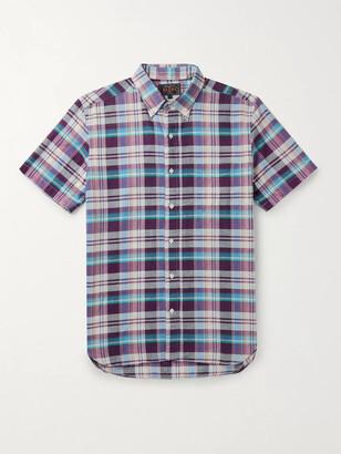 Beams Button-Down Collar Checked Cotton Shirt