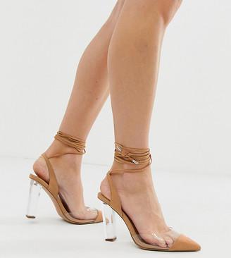 ASOS DESIGN Wide Fit Pucker Up tie leg pointed high heels