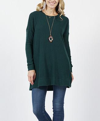 Hunter Lydiane Women's Pullover Sweaters  Green Crewneck Straight-Hem Waffle-Knit Tunic - Women & Plus