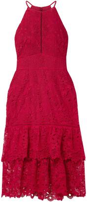 Rachel Zoe Annalise Tiered Guipure Lace Midi Dress