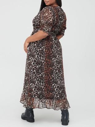 V By Very Curve Wrap Split Midi Dress - Animal Print