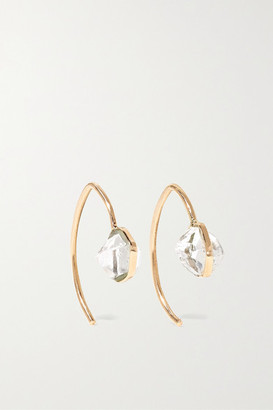 Melissa Joy Manning Mini Wishbone 14-karat Gold Herkimer Diamond Earrings