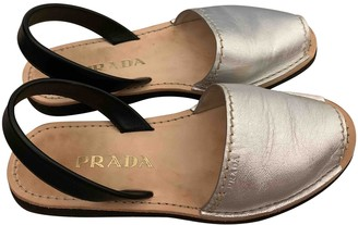 Prada Silver Leather Sandals