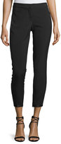 Halston Tapered Slim-Leg Ankle Pants w/ Ribbon Tie Detail, Black