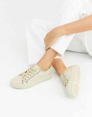 ASOS DESIGN Dusty lace up sneakers in camel