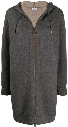 Brunello Cucinelli Elongated Zipped Hooded Cardigan