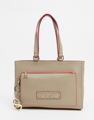Love Moschino tote bag with keychain in beige