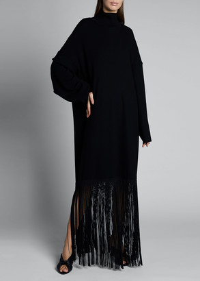 Balenciaga Ribbed-Knit Fringe Maxi Dress