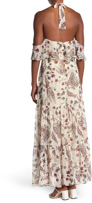 Lucy Paris Cold Shoulder Floral Halter Maxi Dress