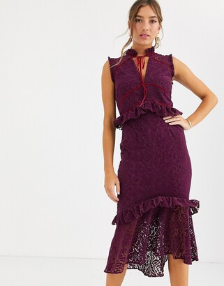 Hope & Ivy allover lace high neck midi dress with ruffle and velvet trim in berry