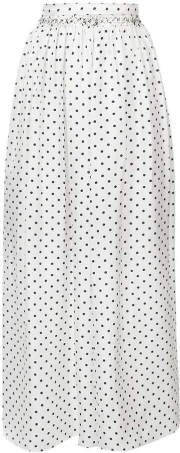 long spot print skirt