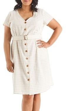 Estelle Plus Caribbean Gingham Print Fit-and-Flare Dress