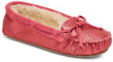 Minnetonka Pink Cally Glitter Moccasin Slippers