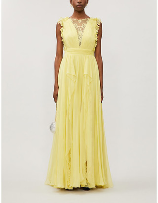 ZUHAIR MURAD Floral lace-panelled ruffle-trimmed silk gown