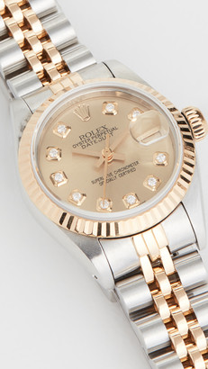 Rolex Pre-Owned Ladies Rolex Champagne Diamond Dial, Fluted Bezel, Oyster Band