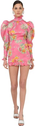 Alessandra Rich Printed Organza Mini Dress
