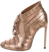 Alaia Metallic Round-Toe Booties w/ Tags