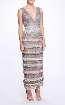 Marchesa Beaded Feather-Embellished Tulle Gown
