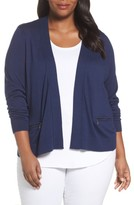 Sejour Plus Size Women's Crop Open Front Cardigan