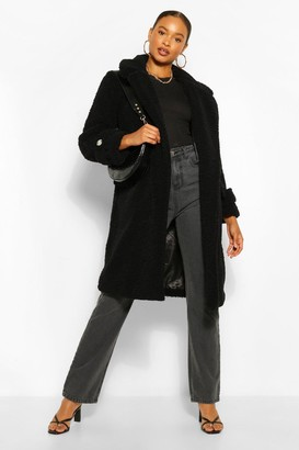 boohoo Double Breasted Belt Detail Teddy Faux Fur Coat