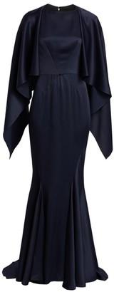 Zac Posen Satin Back Crepe Gown