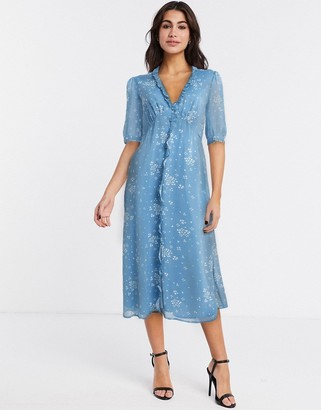 Gestuz button down tea dress in blue