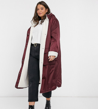 ASOS DESIGN Curve borg lined maxi raincoat in burgundy