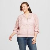 Xhilaration Women's Plus Size Lace Bomber Jacket Pink