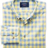 Charles Tyrwhitt Slim fit non-iron gingham yellow and sky blue shirt