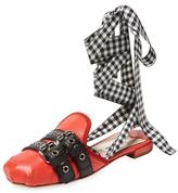 Miu Miu Checkered Leather Mule