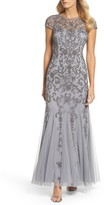 Adrianna Papell Petite Women's Beaded Godet Trumpet Gown