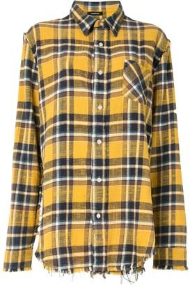 R 13 Frayed-Edge Plaid Shirt