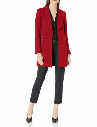 Tahari ASL Women's Winged Lapel Open Zipper Pocket Topper Jacket