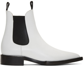 Ami Alexandre Mattiussi White Pointed Chelsea Boots