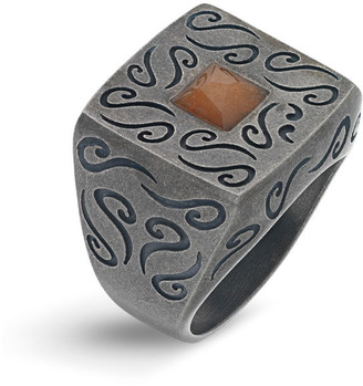 Marco Dal Maso Men's Ara Oxidized Silver Ring with Stone