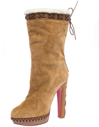 Christian Louboutin Brown Suede Oulanbator Platform Mid Calf Boots Size 39.5