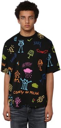 Marcelo Burlon County of Milan Allover Print Over Cotton Jersey T-Shirt